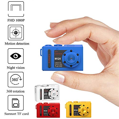 Altsommer Mini Autokamera Full HD 1080p Kamera mit Infrarot Nachtsicht,Mini DVR Digital Video Recorder Kleine Mini Camcorder Cam mit 6 leistungsstarke 940-Nachtsichtleuchten,64gG (Gelb)