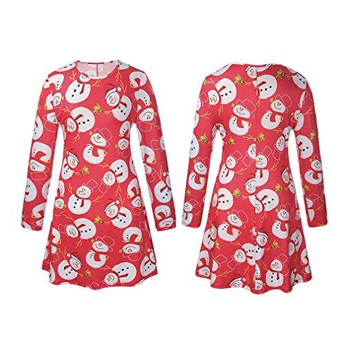 Honghu Manches Longues Noël Robes Femme,Santa Impression Dress de Swing Party de Noël Automne-hiver Rouge 3