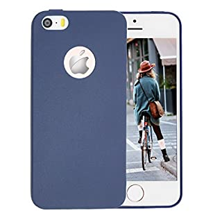 iPhone SE Hülle,iPhone 5 / 5S Schützhülle,Allbuymall Geschmeidig TPU Flexibele Schutzhülle [Candy Pure] Durchsichtige Rückschale und TPU Bumper für Apple iPhone SE / 5S / 5,(4 Zoll)(Dunkel Blau)