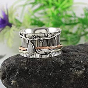 Anxiety Ring for Meditaion, 925 Sterling Silver Band, Brass and Copper Spinner Ring for Women, Gift Ring for Mother's…
