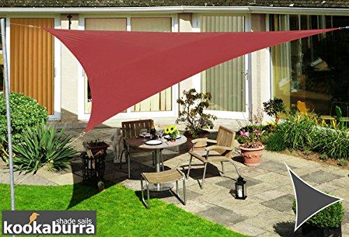 Kookaburra Voile d'Ombrage Imperméable 5,0m Triangle Rouge