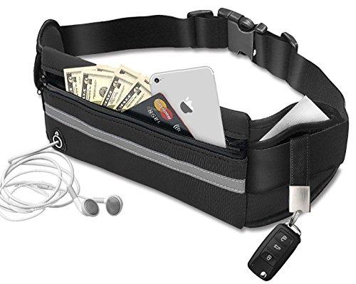 Bauchtasche Sporttasche Neopren Hüfttasche mit grossem Mittelfach, kleinen Seitentaschen, Flaschenhalter und Kopfhörerausgang. Aus Neopren Material. (schwarz)