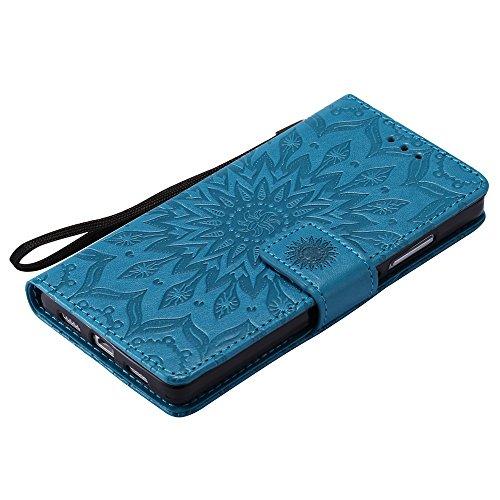Für Huawei P8 Lite Fall, Prägen Sonnenblume Magnetic Pattern Premium Soft PU Leder Brieftasche Stand Case Cover mit Lanyard & Halter & Card Slots ( Color : Pink ) Blue