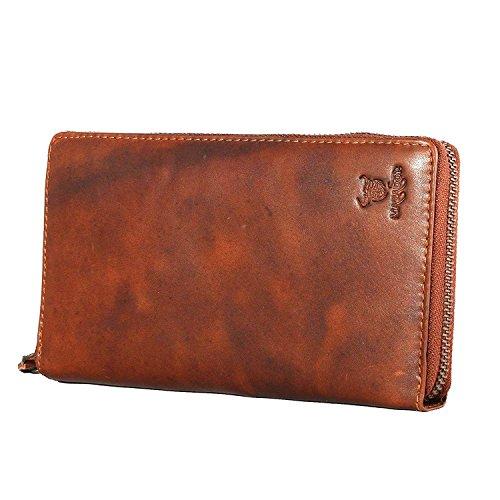 MATADOR ECHT Leder Geldbörse Geldbeutel Damen / Frauen Portemonnaie Portmonee Lang format RFID Schutz Reißverschluss Vintage Braun (Fach Strukturiertes Portemonnaie)