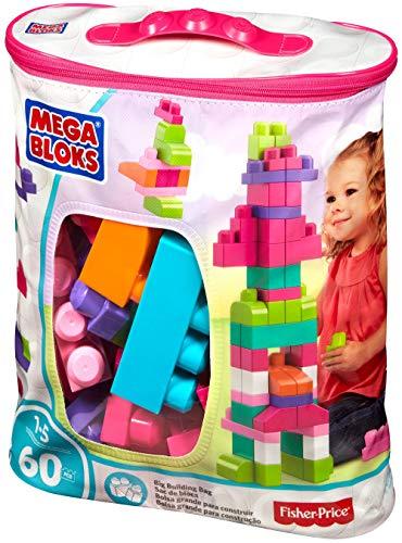 f9ef159d4a8e Mega Bloks - Juego de construcción de 60 piezas con bolsa ecológica rosa  (Mattel DCH54