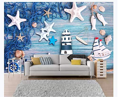 Schneiden Fischnetz (3D Tapete Wandgemälde Blaue Mittelmeerwind-Brett-Leuchtturm-Fischnetz Shell Background Wall Wallpaper Seidentuch Kleber senden 250x175cm)