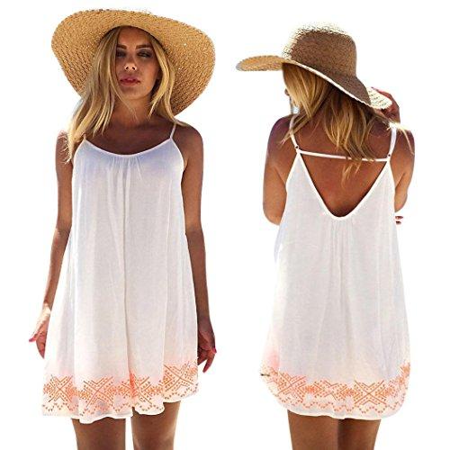 CLEARANCE! MEIbax frauen rückenfrei kurzer sommer boho abend party beach mini - kleid sommerkleid (Weiß, L)