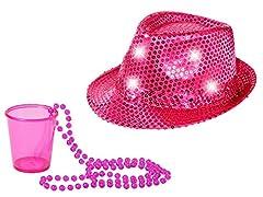 Idea Regalo - Set di Accessori per Festa (Kv-210) | 2 Pezzi | Cappello Fedora Rosa a Luci LED con Paillettes | Bicchiere per Shot con Collana | Divertente Gadget | Addio al Nubilato Celibato | Carnevale