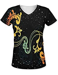 Snoogg Creative Artwork With Shiny Background Womens Casual V-Neck All Over Printed T Shirts Tees