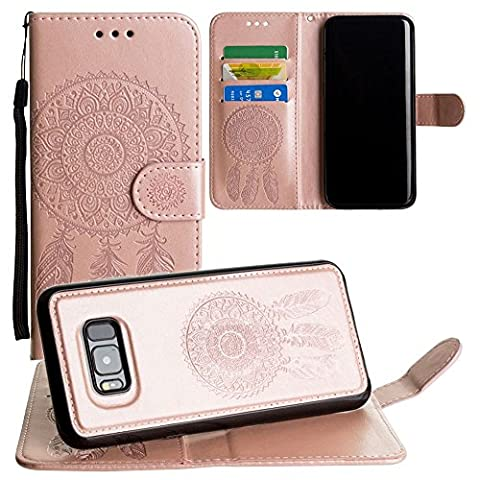 CellularOutfitter Samsung Galaxy S8 Plus Wallet Case - Embossed Dreamcatcher Design w/ Matching Detachable Case and Wristlet - Rose Gold
