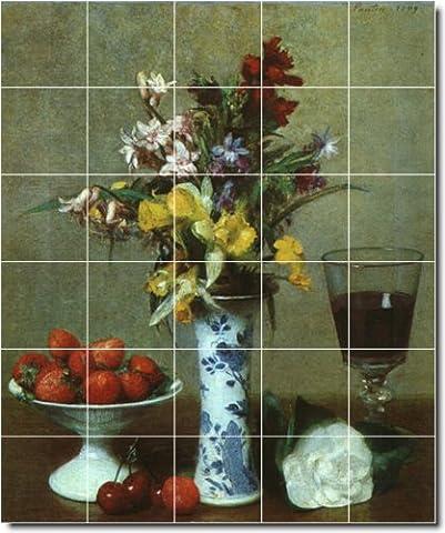 Henri Fantin-Latour Still Life Ceramic Tile Mural 21. 30x36 Inches