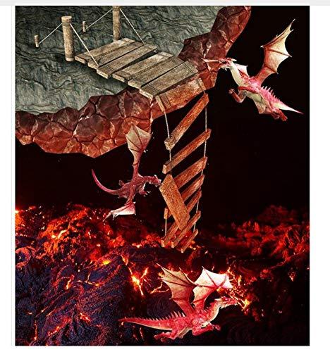 Pintura 3D Personalizada Papel Tapiz Para Suelo Pvc Adhesivo Volcánico Suelo De Lava Fuego Que Respira Dragón 3D Pintura Para Piso Papel Tapiz 3D 400x280cm