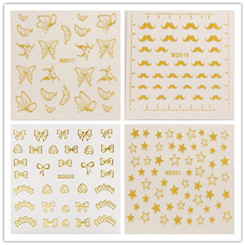 Nail Tattoo Floral Lace Butterfly-Star Bow Beard Fashion Style Nagelkunstwerkzeug Carve-Nagel-Aufkleber-Dekoration-Aufkleber Glitter Tatoo (Butterfly Tatoo)
