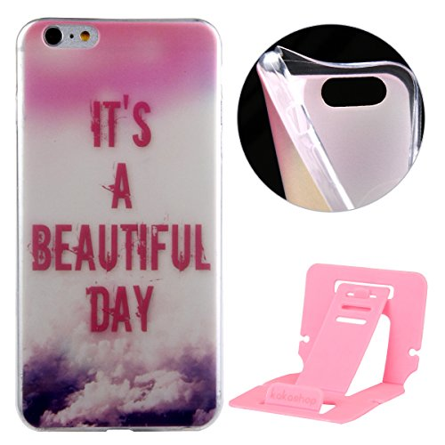 Ekakashop Mode TPU Silicone Souple Cover Case de Protection pour iphone 6 Plus/6s Plus 5.5 Pouces, Jolie Dessin Couleur imprimé Motif de Animale Mignon Chiot [Scratch-Resistant] [Perfect Fit] Crystal  A Beautiful Day