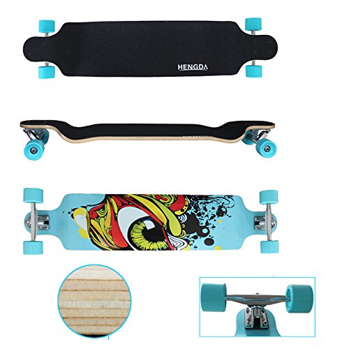 "VINGO® 41"" Skate Board 104cm Street Cruiser ABEC9 Freeride Longboard 9-Lagen-Ahornholz High Speed Kugellager freeriding"