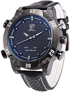 Shark Herren Armbanduhr XXL Leder Uhrband Analog LED Anzeige mit Datumanzeige SH264
