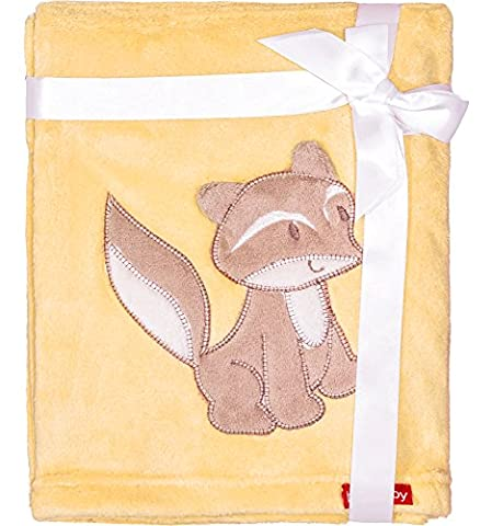 Baby's Cuddly Blanket with 3D application / Blanket 76 x 102 cm(Yellow - Fox (2016)