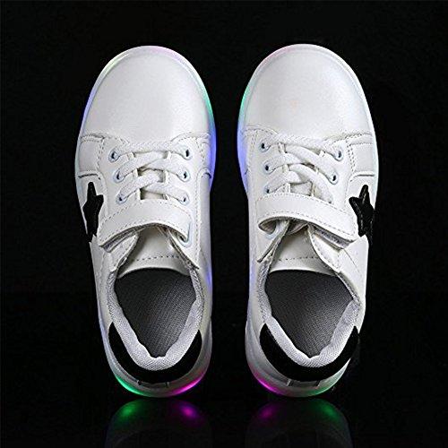 Kinder Junge Mädchen LED Schuhe Bunte Leuchtend Sneakers Turnschuhe Led Sportschuhe Kinderschuhe Weiß