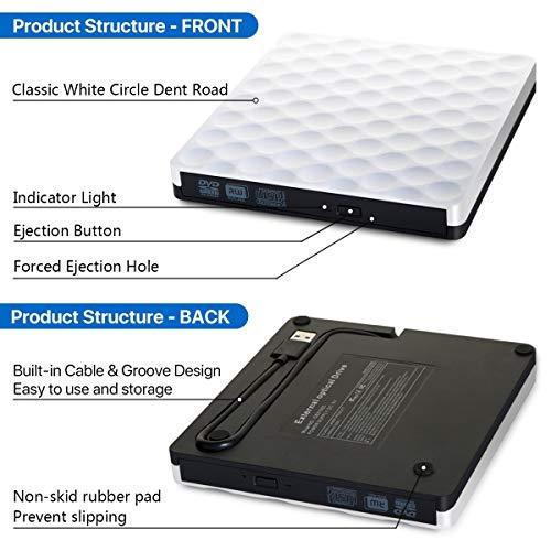 Masterizzatore CD DVD Esterno, USB3.0 Unità DVD Esterna Dual Port Tipo-C Lettore DVD Esterno DVD Drive per Windows10 / 7/8, laptop, Mac, Macbook Air/Pro, Apple, Desktop, PC