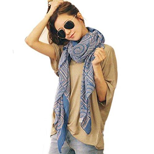 ZARU señora de las mujeres suave larga Impreso bufanda del abrigo del mantón de las bufandas (Blue)