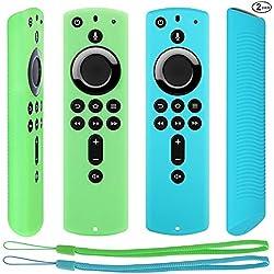 Pinowu Slim Remote Étui de Protection en Silicone [Design Ultra-Fin et Léger] Compatible avec Fire TV Stick 4K Télécommande (2pcs: Turquoise et Vert)