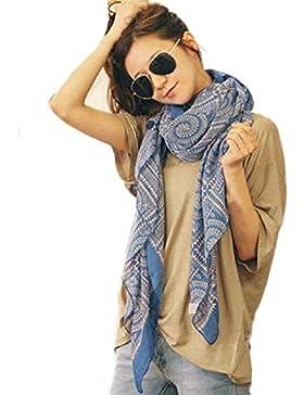 ZARU señora de las mujeres suave larga Impreso bufanda del abrigo del mantón de las bufandas