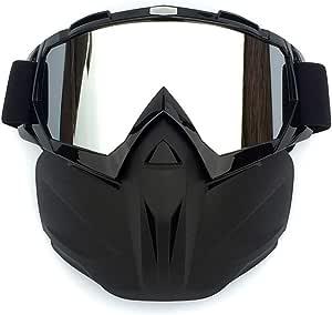 J W Motorrad Gesichtsmaske Mit Schutzbrille Motocross Schutzbrille Langlaufrennen Nebel Sicherer Winddichter Helm Mit Offenem Gesicht Für Fahrrad Cyling Skifahren Reiten Im Freien Küche Haushalt