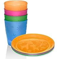NIP Set da 8 pezzi per bambini // Made in Germany // piatti con motivo, confezione da 4 pezzi e bicchierini // simpatici…