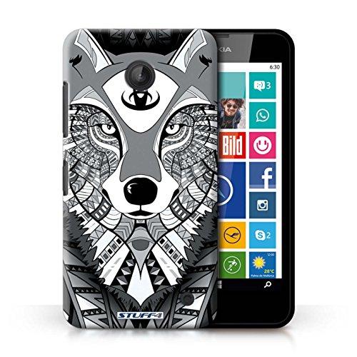 Coque en plastique pour Nokia Lumia 630 Collection Motif Animaux Aztec - Loup-Sépia Loup-Mono