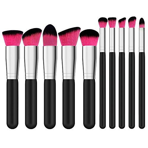 Qivange Kosmetikpinsel, kabuki Pinselset weich Kosmetik Foundation Rouge Blending Lidschatten Puder Gesicht makeup Pinsel Set, Schwarz mit Rot(10 Stück) (Rote Augen Kontakte Für Halloween)