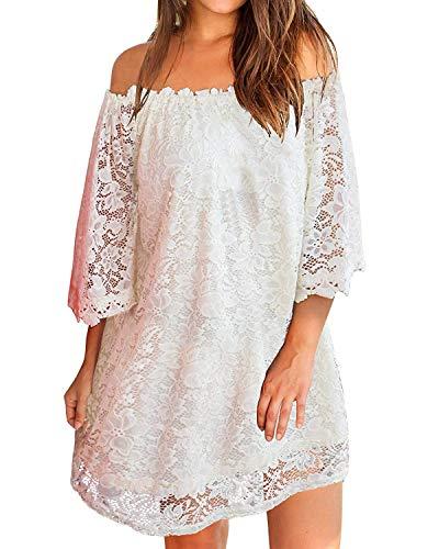 ZANZEA Damen Schulterfrei Kleid mit Spitze 3/4 Arm Transparent Abend Party Oberteil Mini Kleider Weiß EU 40-42/Etikettgröße M