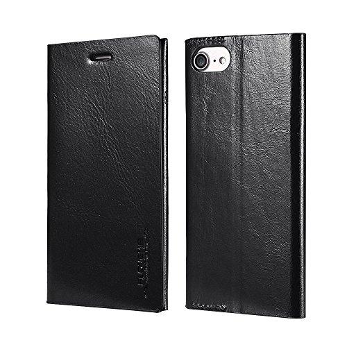 Phone Case & Hülle für iPhone 6 & 6s Horizontal Flip Echtleder Schutzhülle mit Halter & Kartensteckplätze ( Color : Blue ) Black