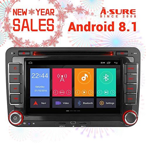 "A-SURE 7\"" 2GB RAM Android 8.1/8.0 DVD GPS Navigation Autoradio 4G LTE WiFi Mirror-link DVR DAB+ OBD PX5 für VW Golf 5 6 Passat Touran Tiguan Multivan T5 Polo Jetta Caddy Skoda Seat (KUW7J)"