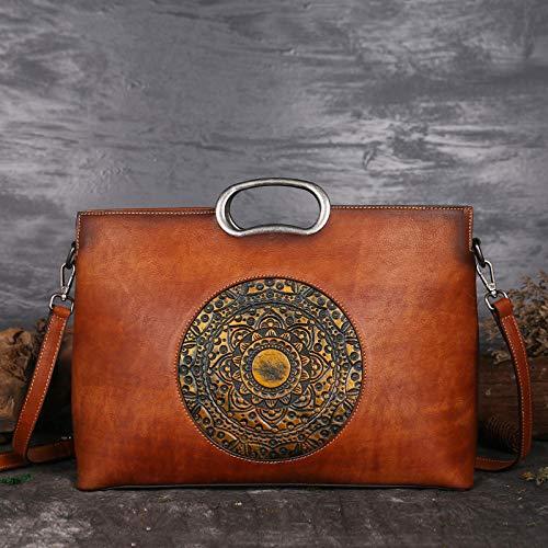 Pamabag Echtes Leder Damen Tasche,Vintage Braun Aus Echtem Leder Damen Handtasche Umhängetasche Classic Totem Geprägte Große Kapazität Tote Bag Mode Elegante Schulter Kuriertasche (Geprägte Tote Gefüttert)