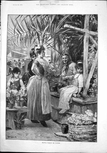 Frauen Blume Markt-Triests W Gause, die Blumen-Kind 1892 Verkaufen