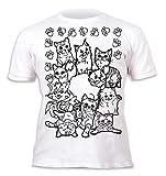 Kinder T-Shirt Jungen Mädchen Cats. Zum Bemalen und Ausmalen mit Vordruck. Mitgeliefert 6 auswaschbare Magic - Malstifte. Kindergeburtstag. Größe 5-6 Jahre