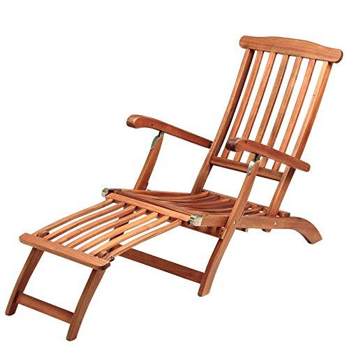 Sonnenliege Queen Mary | Akazien Holz Verstellbar Fußsegment klappbar | Sonnenstuhl Deckchair...