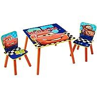 Cars Conjunto de Mesa y Dos sillas, Madera, Rojo, 63.00x63.00x45.00 cm