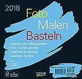 Foto-Malen-Basteln Bastelkalender schwarz quer 2018: Fotokalender zum Selbstgestalten. Do-it-yourself Kalender mit festem Fotokarton. Format: 16 x 15,5 cm - Korsch Verlag