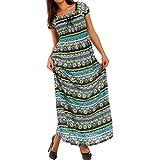 Young-Fashion Damen Maxikleid Carmen Ausschnitt Kleid Lang, Farbe:Gelb;Größe:M/L