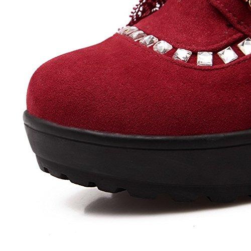 VogueZone009 Damen Rein Nubukleder Mittler Absatz Rund Zehe Schnüren Pumps Schuhe Rot