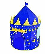 Spielzelt Mond + Sterne, mit 1 Tür und 2 Fenstern, aus Polyester, stabiles Gerüst ausFiberglasstäben, Türöffnung kann hochgerollt und mit einem Band befestigt werden,Ø 105cm, H: 135cm, Farbe dunkelblau