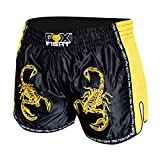 FOX-FIGHT Thai Short Scorpion Fight Hosen Shorts Muay Thai Kickboxen UFC Kampfsport Boxen Training MMA S Schwarz