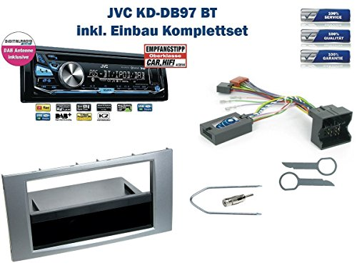Ford Fiesta / Focus / C-MAX / S-MAX uvm. Autoradio Einbauset *Silber* inkl. JVC KD-DB97BT (DAB+) und Lenkrad Fernbedienung Adapter