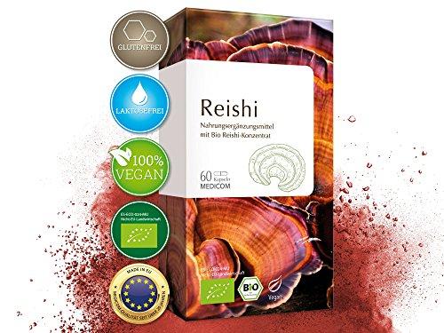 Ganoderma Lucidum Reishi (BIO Reishi Kapseln, biozertifiziert - 400 mg hochwertiges Reishi-Konzentrat aus Ganoderma lucidum pro Kapsel - vegan, 60 Stk.)