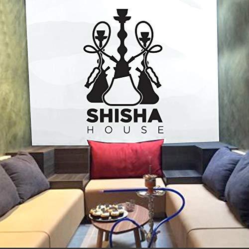 WSLIUXU Adesivo murale con logo narghilè Adesivo murale arabo Adesivo in vinile Area di sosta Decorazioni per la casa Arte Camera da letto Adesivo per decorazione soggiorno Fucsia 36 88x57cm
