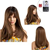 Marrone Long Silky Straight Parrucca, Parrucca Marrone Lunga Donna con Frangia, Capelli Ondulati Sintetici Fashion Full Wig, Forma naturale per le Donna Ragazza uso quotidiano, Cosplay, Party-18''