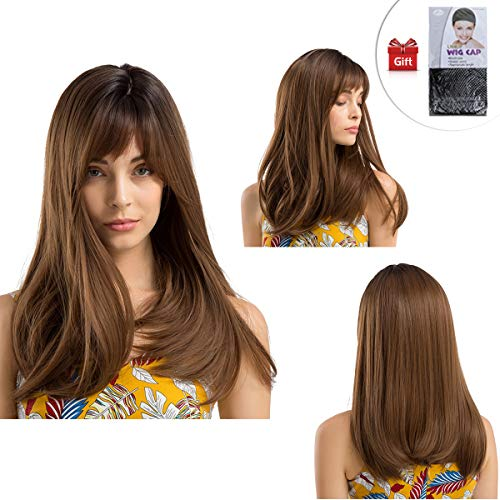Marrone Long Silky Straight Parrucca GLAMADOR Parrucca Marrone Lunga Donna con Frangia Capelli Ondulati Sintetici Fashion Full Wig Forma naturale per