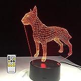 QingMuMu Bull Terrier Dog 3D Lampen 7 Couleur USB Veilleuse LED pour Enfants Anniversaire Creative Chevet Décor Cadeau Gratuit Dropshipping...