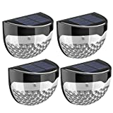 Solar Lights, TopElek 4 Pack Solar Garden Lights, 6 LED Waterproof Solar Lights Outdoor Solar Powered Wireless Sensor Fence Light for Patio, Fence, Yard, Pathway, Garden, Hall, Driveway, Garage, Stairway, Gate, Wall (Built-in rechargeable Ni-MH battery)